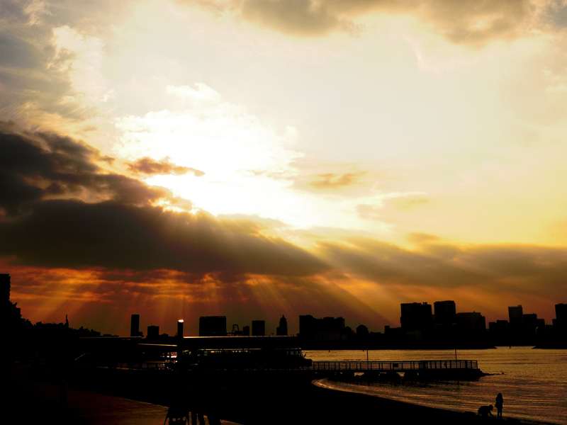 お台場海浜公園からの夕陽