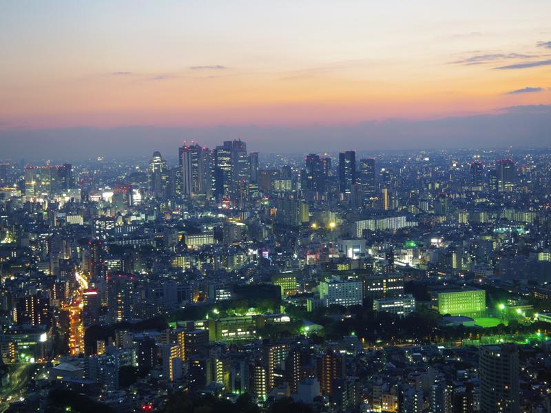 夕焼けからの新宿方面夜景